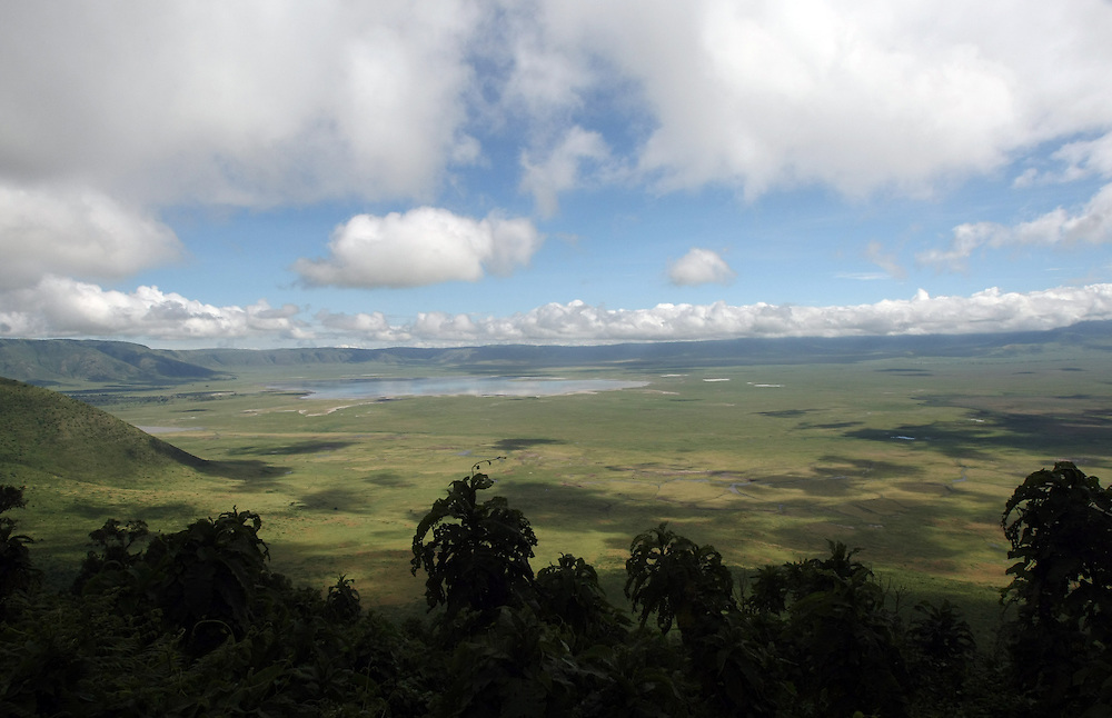 A view of the Ngorongoro Crater, a popular Safari destination for tourists in Tanzania.