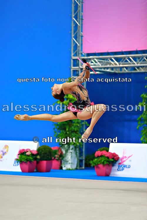 Harutyunyan Lilit during qualifying at ribbon in Pesaro World Cup 11 April 2015. Lilit is an Armenian rhythmic gymnastics athlete born May 5, 1995 in Erevan, Armenia.