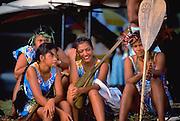 Young Polynesian women, Tahiti, French Polynesia