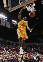 29 January 2005: Nick Young of USC dunks the ball as UCLA beat USC 72-69 at the Sports Arena in Los Angeles, CA