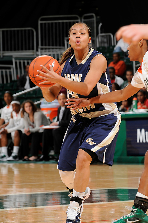 December 28, 2010: Janine Davis of the George Washington Colonials in action during the NCAA basketball game between GWU and the Miami Hurricanes. The 'Canes defeated the Colonials 83-62.