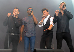 © Licensed to London News Pictures. 16/07/2015<br /> Rochester Castle Concerts,Rochester,Kent<br /> blue singing.<br /> ltr<br /> Antony Costa,Simon Webbe, Duncan James,Lee Ryan<br /> (Byline:Grant Falvey/LNP)