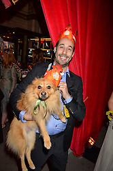 ANDRE DE TRICHATEAU and his dog Luca at the Tatler Magazine's Kings & Queens party held at Savini at Criterion, Piccadilly, London on 1st June 2016.
