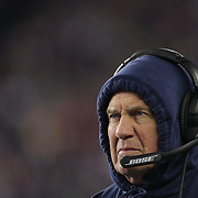 FOXBOROUGH, MASSACHUSETTS - JANUARY 14: Bill Belichick, head coach of the New England Patriots, on the sideline during the Houston Texans Vs New England Patriots Divisional round game during the NFL play-offs on January 14th, 2017 at Gillette Stadium, Foxborough, Massachusetts. (Photo by Tim Clayton/Corbis via Getty Images)