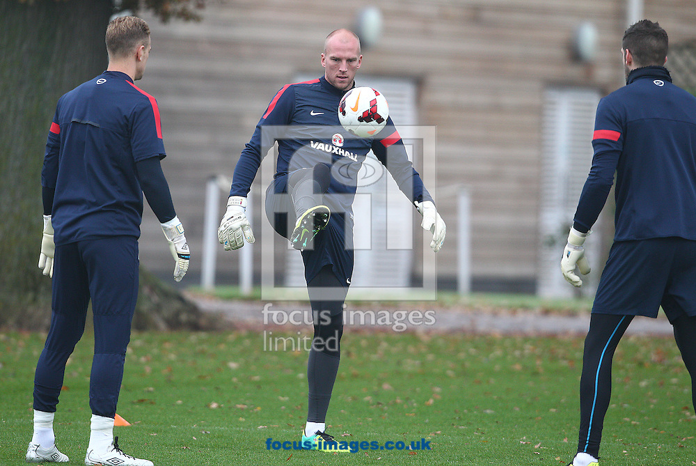 Picture by Paul Terry/Focus Images Ltd +44 7545 642257<br /> 18/11/2013<br /> John Ruddy ( C ) during England Training at London Colney, London.