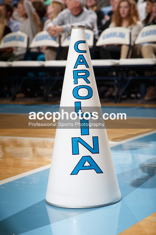 CHAPEL HILL, NC - DECEMBER 27: A cheerleader's megaphone of the North Carolina Tar Heels sits on the court during a game against the Northern Kentucky Norse on December 27, 2013 at the Dean E. Smith Center in Chapel Hill, North Carolina. North Carolina won 60-75. (Photo by Peyton Williams/UNC/Getty Images)