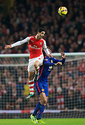 LONDON, ENGLAND - Saturday, November 22, 2014: Arsenal's captain Mikel Arteta in action against Manchester United's Marouane Fellaini during the Premier League match at the Emirates Stadium. (Pic by David Rawcliffe/Propaganda)