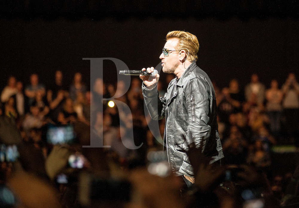 Bono of U2 performs at the SSE Hydro as part of their iNNOCENCE + eXPERIENCE tour on November 6, 2015 in Glasgow, Scotland.