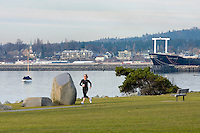 Jogger at Boulevard park Bellingham Washington USA