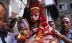 August 9, 2017 - Kathmandu, Nepal - Living Goddess Kumari of Nepal visit Buddhist shrines as part of her pilgrimage visit ''Bahi Dya Byoyegu''(in local language) a day after Gaijatra, the festival of cows in Kathmandu,Nepal. (Credit Image: © Sunil Sharma via ZUMA Wire)