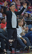 Actor Billy Crystal cheers during the first half. The Los Angeles Clippers played the Portland Trail Blazers in game 5 of the NBA Western Conference Playoffs first round. Los Angeles, CA.  April 27, 2016. (Photo by John McCoy/Southern California News Group)