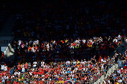 MOSCOW, RUSSIA - Sunday, July 1, 2018: Supporters watch between sunshine and shadows during the FIFA World Cup Russia 2018 Round of 16 match between Spain and Russia at the Luzhniki Stadium. (Pic by David Rawcliffe/Propaganda)