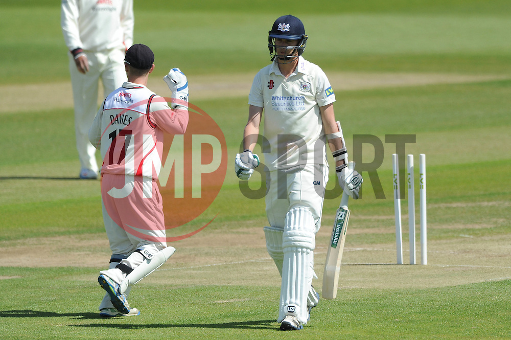 Craig Miles of Gloucestershire cuts a dejected figure after being bowled out by Kyle Jarvis of Lancashire for 12 in the second over- Photo mandatory by-line: Dougie Allward/JMP - Mobile: 07966 386802 - 08/06/2015 - SPORT - Football - Bristol - County Ground - Gloucestershire Cricket v Lancashire Cricket Day 2 - LV= County Championship
