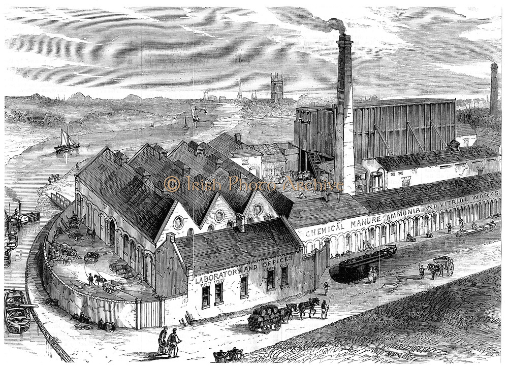 Webb's chemical factory, Diglis, Worcestershire.  The tall building to right behind chimney contains Gay-Lussac's lead chambers for the production of sulphuric acid (Oil of Vitriol or H2SO4), one of the most important of industrial chemicals. Invented in 1827, the lead chambers only came into practical use for the large-scale production of sulphuric acid after the invention by John Glover in about 1859 of the denitrating tower which can be seen on the end of the lead chambers. From 'The Illustrated Midland News', (Birmingham 30 October 1869). Engraving..