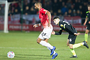 Salford City defender Nathan Pond in possession of the ball                                           during the EFL Sky Bet League 2 match between Salford City and Macclesfield Town at the Peninsula Stadium, Salford, United Kingdom on 23 November 2019.