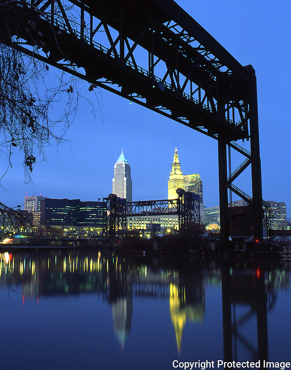Cleveland bridges over Cuyahoga River
