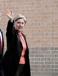 Democratic presidential hopeful New York Senator Hillary Clinton waves as she arrives for a campaign stop at Logan High School, in Logan, WV, USA on May 12, 2008. Senator Clinton and Senator Barack Obama continue their battle for the Democratic party's presidential nomination. Photo by Olivier Douliery/ABACAPRESS.COM