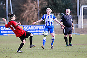 Brighton's Kirstie Barton engages Laura Espana during the FA Women's Sussex Challenge Cup semi-final match between Brighton Ladies and Hassocks Ladies FC at Culver Road, Lancing, United Kingdom on 15 February 2015. Photo by Geoff Penn.