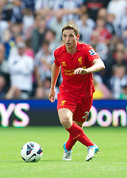 WEST BROMWICH, ENGLAND - Saturday, August 18, 2012: Liverpool's Joe Allen in action against West Bromwich Albion during the opening Premiership match of the season at the Hawthorns. (Pic by David Rawcliffe/Propaganda)