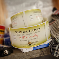 Labels for Three Capes whisky at McHenry Distillery in Port Arthur, Tasmania, August 25, 2015. Three Capes contained whisky that was produced at Sullivan's Cove that allowed McHenry to release a product while his own whisky was starting to age. Gary He/DRAMBOX MEDIA LIBRARY