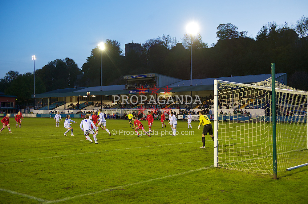 BRIDGEND, WALES - Monday, October 25, 2010: Wales take on Kazakhstan during the UEFA Under-19 Championship Qualifying Group 1 match at Brewery Field. (Pic by: David Rawcliffe/Propaganda)