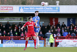 Peterborough United's Shaun Brisley in action with Crawley Town's Matt Tubbs - Photo mandatory by-line: Joe Dent/JMP - Tel: Mobile: 07966 386802 01/03/2014 - SPORT - FOOTBALL - Crawley - Broadfield Stadium - Crawley Town v Peterborough United - Sky Bet League One