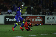 AFC Wimbledon striker Dominic Poleon (10) goes close during the EFL Trophy match between AFC Wimbledon and U23 Brighton and Hove Albion at the Cherry Red Records Stadium, Kingston, England on 6 December 2016. Photo by Stuart Butcher.
