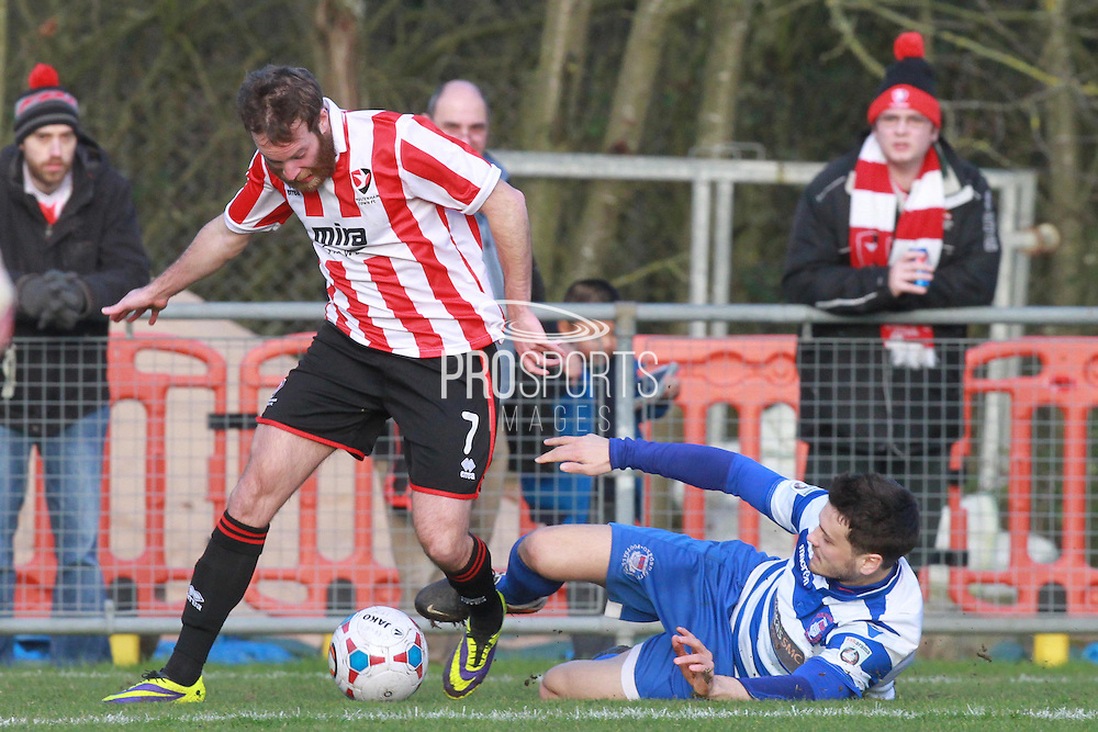 James Dayton and Jose Lapoujade during the FA Trophy match between Oxford City and Cheltenham Town at Court Place Farm, Oxford, United Kingdom on 16 January 2016. Photo by Antony Thompson.