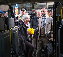 Edinburgh, Scotland,UK. 28 March 2018. former Catalonia Education Minister and independence supporter Clara Ponsati gets into taxi at Edinburgh Sheriff Court after her bail hearing. Ponsati faces extradition to Spain. She was granted bail.