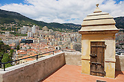 MONACO, MONACO - JUNE 17, 2015: View to the Monaco city buildings with the old watchtower at the foreground.