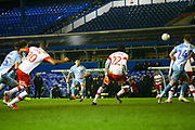 Liam Walsh of Coventry City(20) takes a free kick and shoots at goal during the EFL Sky Bet League 1 match between Coventry City and Rotherham United at the Trillion Trophy Stadium, Birmingham, England on 25 February 2020.