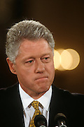 U.S. President Bill Clinton announces the resignation of chief of staff Leon Panetta and introduces his successor Erskine Bowles at the White House November 11, 1996 in Washington, DC.