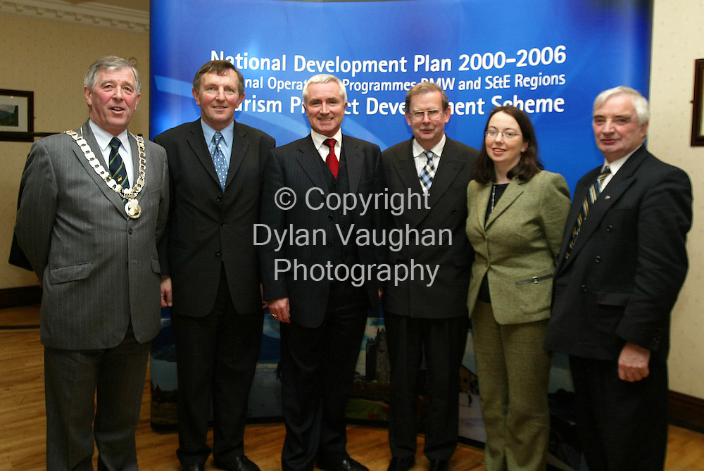 1/2/2002 Irish Independent News.Pictured in Carlow yesterday in the Dolmen Hotel at the launch of the Tourism Product Development Scheme under the National Development plan 2000-2006 for the South and East Region was from left Peter Considine Vice Chairman of S.E.R.A, Senator MJ Nolan, The Minister for Tourism, Sport and Recreation, Dr James McDaid TD ,Niall Reddy acting Chief Executive Bord Failte Eireann, Eileen O Rourke and Joe MacDonnell of Carlow Tourism..Picture Dylan Vaughan