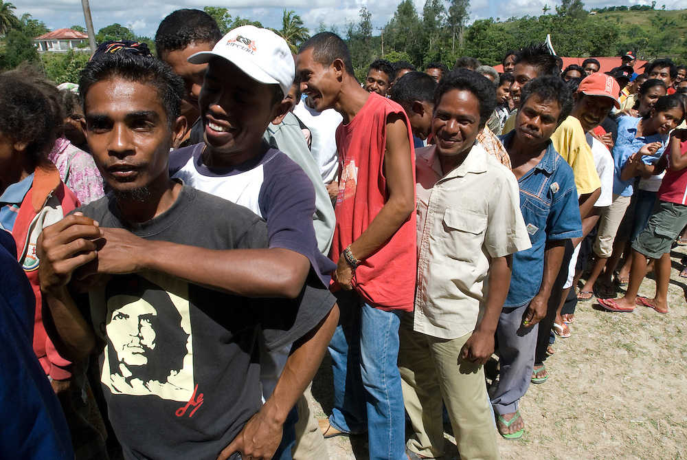 A large number of East Timorese turn out in Ossu to cast their vote for either Francisco Guterres (Lu Olo) or Jose Ramos Horta, both candidates for East Timor's Presidential Elections.