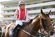 DUBAI ACCLAIM (4) ridden by Sammy Jo Bell and trained by Richard Fahey celebrates by giving a thumbs up after winning The Mondialiste Leger Legends Classified Stakes over 1m (£11,600)  during the opening day of the St Leger Festival at Doncaster Racecourse, Doncaster, United Kingdom on 11 September 2019.