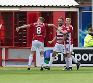 12th August 2017, SuperSeal Stadium, Hamilton, Scotland; SL Football league Hamilton Academicals versus Dundee; Hamilton's Dougie Imrie is congratulated after scoring by Ali Crawford and Greg Docherty