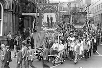Elsecar, Cortonwood and Silverwood banners, 1983 Yorkshire Miner's Gala. Barnsley