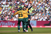Tom Moores and Steve Mullaney of Notts Outlaws celebrate the wicket of Riki Wessels during the Vitality T20 Finals Day 2019 match between Notts Outlaws and Worcestershire Rapids at Edgbaston, Birmingham, United Kingdom on 21 September 2019.