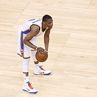 14 June 2012: Oklahoma City Thunder point guard Russell Westbrook (0) looks to pass the ball during the Miami Heat 100-96 victory over the Oklahoma City Thunder, in Game 2 of the 2012 NBA Finals, at the Chesapeake Energy Arena, Oklahoma City, Oklahoma, USA.