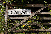 Old Victorian rectory gate now home of the Rivendell Buddhist Retreat Centre, East Sussex, England.