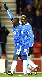 WIGAN, ENGLAND - Tuesday, January 4, 2005: Wigan Athletic's Nathan Ellington celebrates scoring against Wolverhampton Wanderers with team-mate Jason Roberts during the League Championship match at the JJB Stadium. (Pic By Dave Kendall/Propaganda)