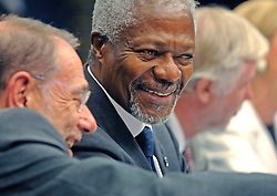 BRUSSELS, BELGIUM - AUGUST-25-2006 - Kofi Annan U.N. Secretary General, speaks with European Union foreign policy chief Javier Solana during the press conference that followed an extraordinary meeting of European foreign ministers and the United Nations to discuss European military deployment to Lebanon as part of the cease-fire agreement between Israel and Hezbollah, at the European Council headquarters in Brussels. (PHOTO © JOCK FISTICK)