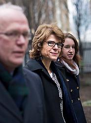 © London News Pictures. 12/02/2013 . London, UK.  Vicky Pryce (centre) arriving at Southwark Crown Court where she is currently on trial for perverting the course of justice. Vicky Pryce has admitted  accepting penalty points incurred by her former husband and disgraced MP Chris Huhne in 2003. Photo credit : Ben Cawthra/LNP