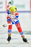 Graz, Austria - 2017 March 24: Ekaterina S. Zubova from from SO Russia (165) competes in Speed Skating 333 meters race while Special Olympics World Winter Games Austria 2017 at Icestadium Graz Liebenau on March 24, 2017 in Graz, Austria.<br /> <br /> Mandatory credit:<br /> Photo by © Adam Nurkiewicz / Mediasport<br /> <br /> Adam Nurkiewicz declares that he has no rights to the image of people at the photographs of his authorship.<br /> <br /> Picture also available in RAW (NEF) or TIFF format on special request.<br /> <br /> Any editorial, commercial or promotional use requires written permission from the author of image.<br /> <br /> Image can be used in the press when the method of use and the signature does not hurt people on the picture.