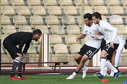 June 5, 2018 - Brussels, BELGIUM - Egypt's Trezeguet and Egypt's Ramadan Sobhi pictured during a training session of the Egyptian national soccer team, Tuesday 05 June 2018, in Brussels. Egypt will play on Wednesday a friendly game against the Belgian national soccer team Red Devils to prepare the upcoming FIFA World Cup 2018 in Russia. BELGA PHOTO VIRGINIE LEFOUR (Credit Image: © Virginie Lefour/Belga via ZUMA Press)