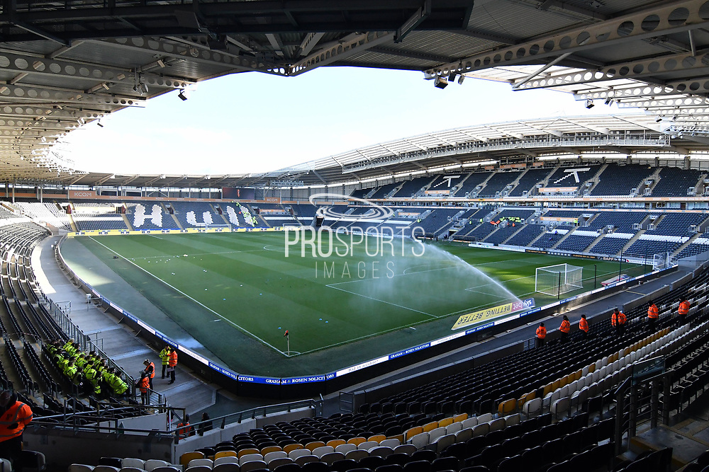 A general view inside Hull City KCOM stadium before the EFL Sky Bet Championship match between Hull City and Wigan Athletic at the KCOM Stadium, Kingston upon Hull, England on 10 April 2019.