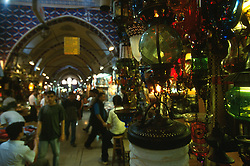 TURKEY ISTANBUL JUL02 - Laterns and an eclectic mix of exotic wares are on display in the Kapali Carsi, the largest covered bazaar in the world. It features over 4000 shops, numerous storehouses, moneychangers and banks, a police station, a mosque, private security guards and its own health centre...jre/Photo by Jiri Rezac..© Jiri Rezac 2002..Contact: +44 (0) 7050 110 417.Mobile:   +44 (0) 7801 337 683.Office:    +44 (0) 20 8968 9635..Email:     jiri@jirirezac.com.Web:     www.jirirezac.com