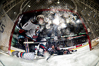 KELOWNA, BC - FEBRUARY 17: Mark Liwiski #9 of the Kelowna Rockets gets up off the ice after colliding into the net with Jett Woo #22 of the Calgary Hitmen and knocking the net off its posts during third period at Prospera Place on February 17, 2020 in Kelowna, Canada. (Photo by Marissa Baecker/Shoot the Breeze)