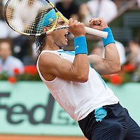 08 June 2007: Rafael Nadal celebrates during the French Tennis Open semi final won 7-5, 6-4, 6-2, by Rafael Nadal over Novak Djokovic on day 13 at Roland Garros, in Paris, France.