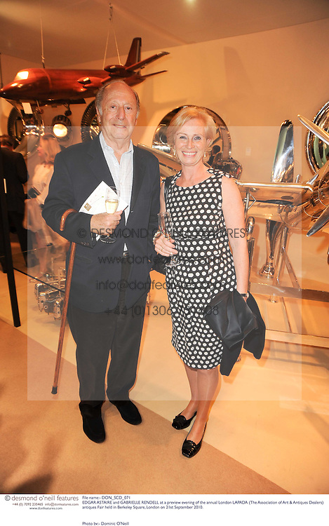 EDGAR ASTAIRE and GABRIELLE RENDELL at a preview evening of the annual London LAPADA (The Association of Art &amp; Antiques Dealers) antiques Fair held in Berkeley Square, London on 21st September 2010. *** Local Caption *** Image free to use for 1 year from image capture date as long as image is used in context with story the image was taken.  If in doubt contact us - info@donfeatures.com<br /> EDGAR ASTAIRE and GABRIELLE RENDELL at a preview evening of the annual London LAPADA (The Association of Art &amp; Antiques Dealers) antiques Fair held in Berkeley Square, London on 21st September 2010.